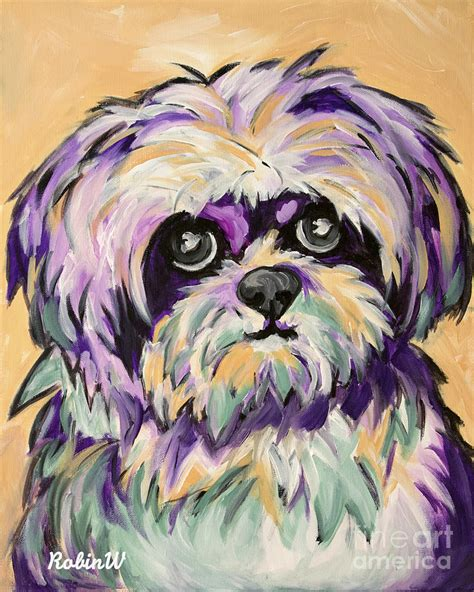 shih tzu painting pop shih tzu painting by robin wiesneth