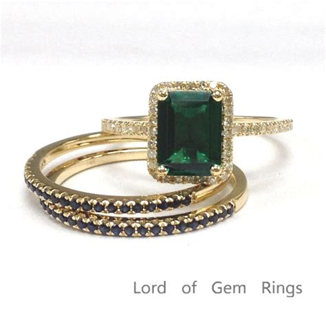 789 emerald shape emerald engagement ring sets pave