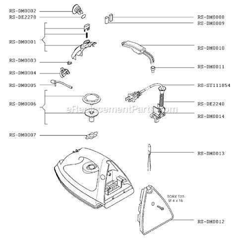 rowenta iron parts diagram rowenta dm273 parts list and diagram ereplacementparts