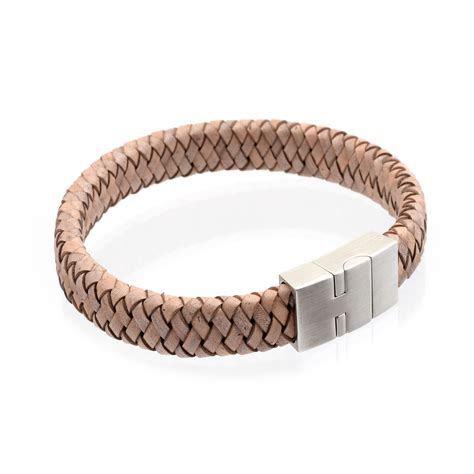 Braided Genuine Leather Bracelet s flat braided leather bracelet 12mm light brown