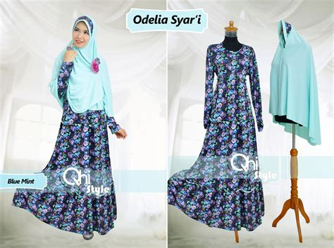 Grosir Baju Gamis Safiyah Syari Jersey O odelia by qhi style blue mint baju muslim gamis modern