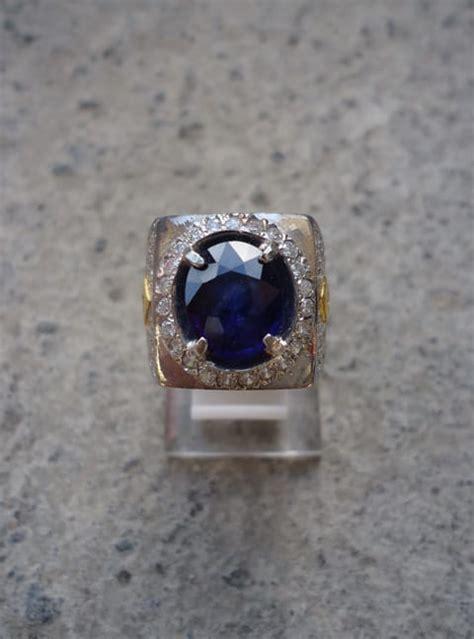 Cincin Perak Asli Berhiaskan Batu Sintetis Biru cincin batu mustika blue sapphire ceylon pusaka dunia