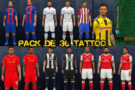 tattoo pack pes 2017 terbaru pes 2017 pack de tatto pes evolution hd