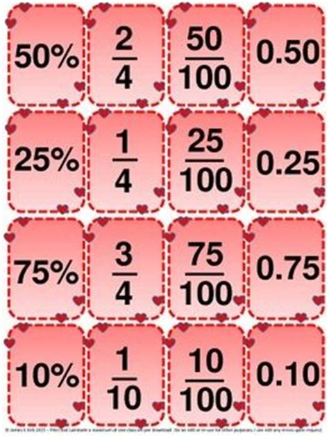 printable decimal number cards 16 best images about fractions printables to laminate on