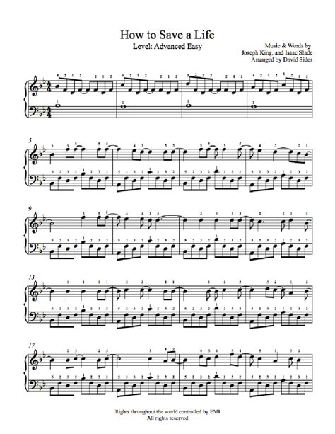 tutorial piano how to save a life how to save a life by the fray piano sheet music