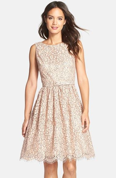 eliza j belted lace fit flare dress in pink lyst