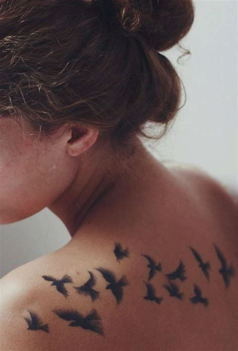 Flock Of Birds Back 50 Sassy And Chic Back Tattoo Designs For Women