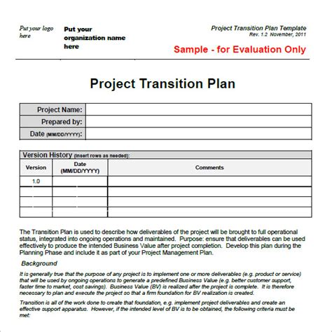 transition plan template 8 free sles exles format