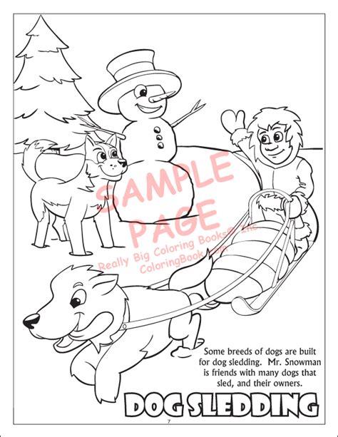 coloring pages of dog sledding coloring books winter wonderland power panel holiday season