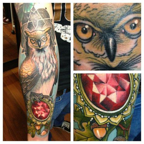 Owl Jewel Tattoo | nevada johnny owl and jewel tattoo tattoos pinterest