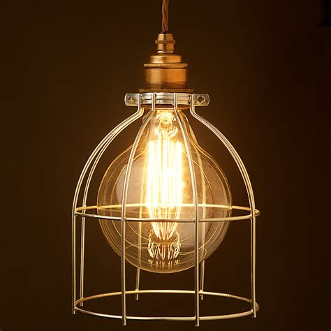 Cage Lights by Large Light Bulb Plated Cage Fitting