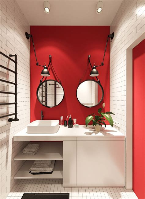 red wall bathroom 3 small apartments that rock uncommon color schemes with
