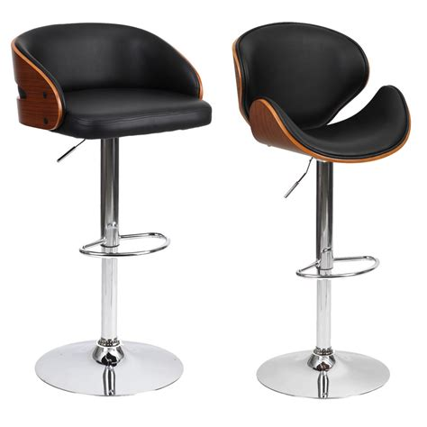 Leather Bar Stool Chairs by Barstool Chair Walnut Bentwood Faux Pu Leather Swivel