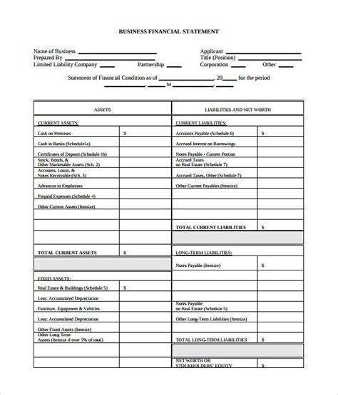 templates for business statements sle business financial statement form 6 download