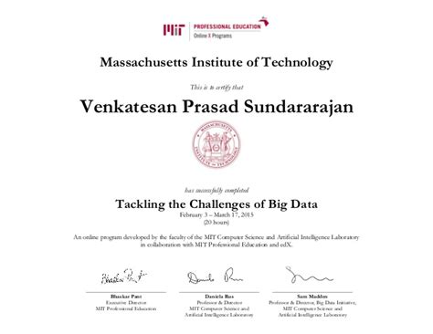 Mit Mba Class Size by Mit Big Data Certificate
