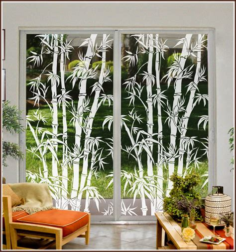 Glass Etching Designs For Kitchen by Tropical Etched Glass Window Film Design Big Bamboo See
