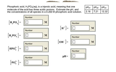Acidic Protons by Solved Phosphoric Acid H3po4 Aq Is A Triprotic Acid M