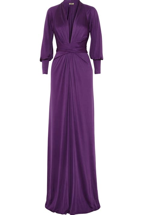 Purple Maxi Dress issa silk jersey maxi dress in purple lyst