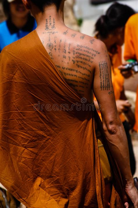 tattooed monk tattooed monk editorial stock photo image of robes