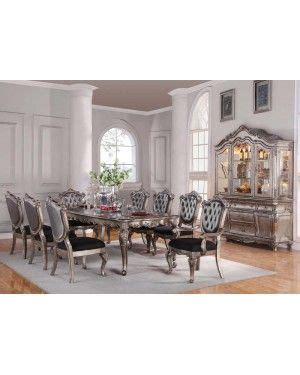 Table Sets For Dining Room Acme 60540 Chantelle Antique Platinum Formal Dining Room