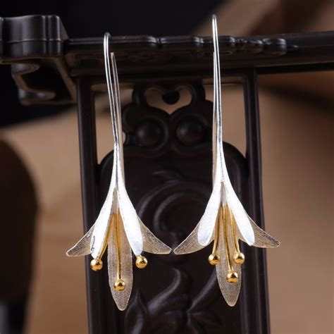 S925 Silver Drop Earring trendy s925 silver ear drop delicate magnolia flower
