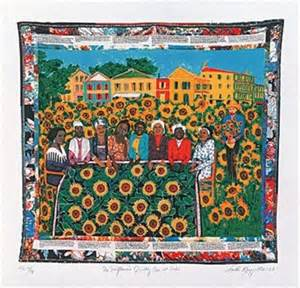 the sunflowers quilting bee at arles by faith ringgold on