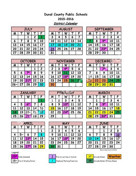 Duval County School Calendar Duval County School Calendar Monthly Calendar 2017