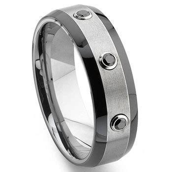 tungsten carbide black two tone wedding band ring