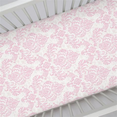 pink damask bedding pink painted damask crib sheet carousel designs