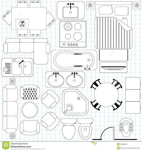 furniture clipart for floor plans simple furniture floor plan royalty free stock image