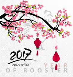 new year flower free vector 2017 new year of rooster with flowers vector 02