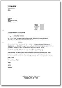 kuendigung rechtsschutzversicherung  musterbrief