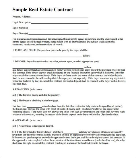 doc 725962 8 real estate sales contract template