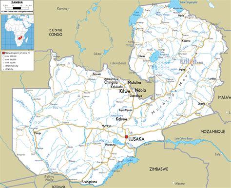 large road map  zambia  cities  airports zambia