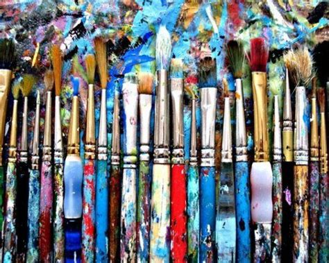 Painting Supplies by Splattered Artist Brushes Broomhillpictures Mixed
