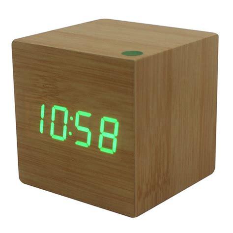 desk alarm clock modern cube wooden wood digital led desk voice control