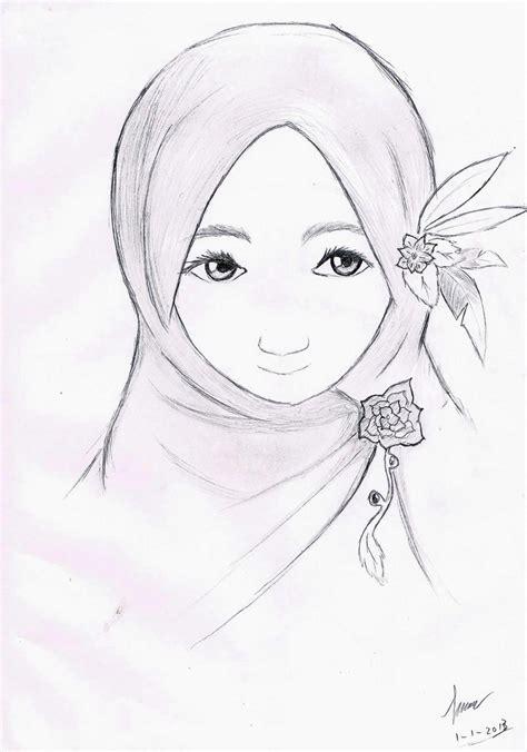 Sho Untuk Berhijab contoh gambar sketsa wanita berhijab dp bbm