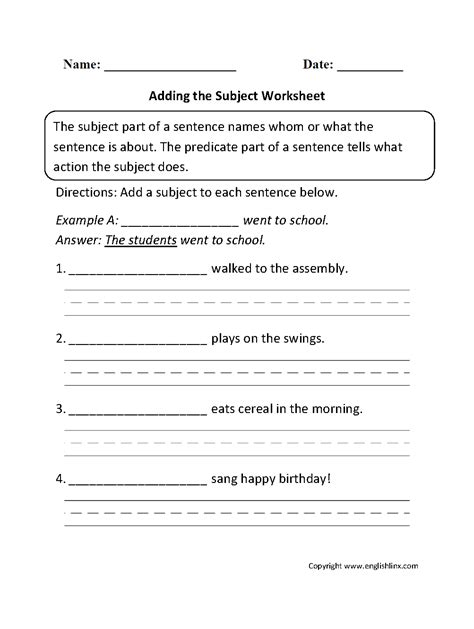 compound subject and predicate worksheets for 4th grade