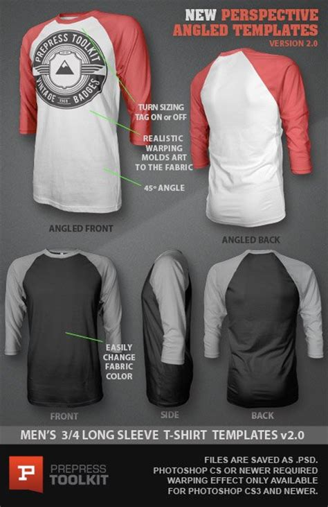 Ghosted 3 4 Long Sleeved T Shirt Design Template Psd Clothing Templates Psd