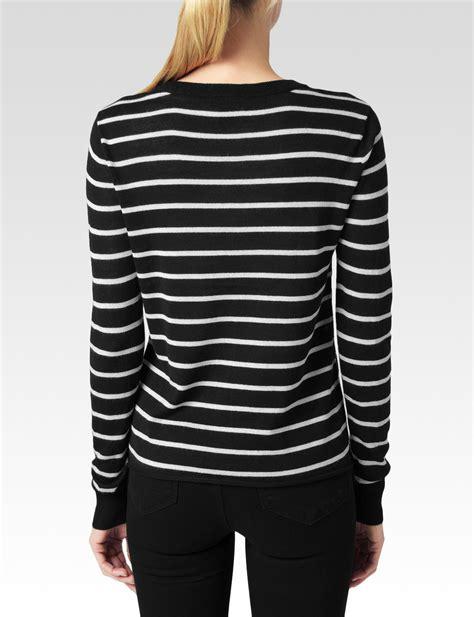 Sweater Stripe Black Gw44 lyst stripe sweater in black