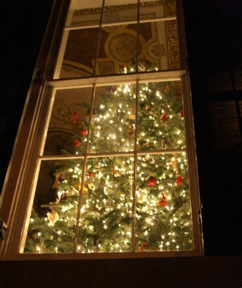 a christmas tree peeks through the window at the home of