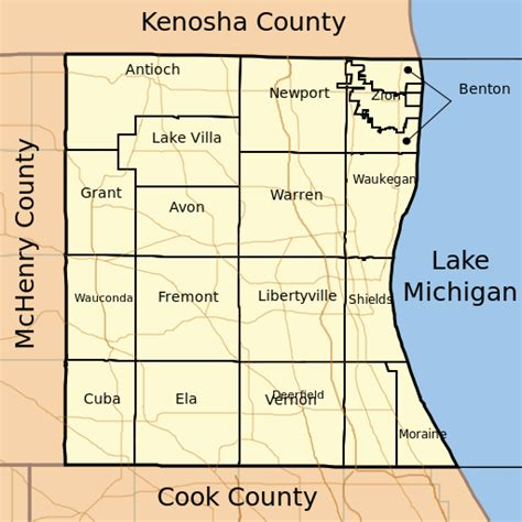 Lake County Il Search File Map Of Lake County Illinois Showing Townships Svg Wikimedia Commons