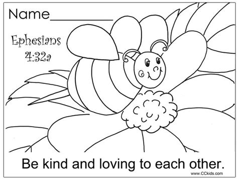 bible coloring pages for preschoolers printable be kind and loving to each other christian education