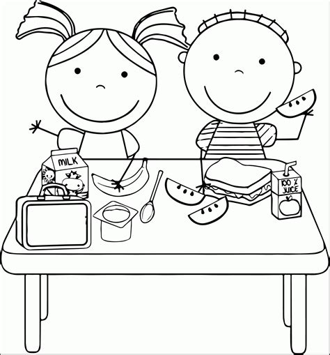fun coloring pages clipart kids eating lunch clipart kids we coloring page