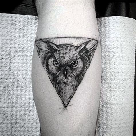 owl tattoo calf 80 geometric owl tattoo designs for men shape ink ideas