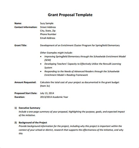 9 Sle Grant Proposals Sle Templates How To Write A Grant Template
