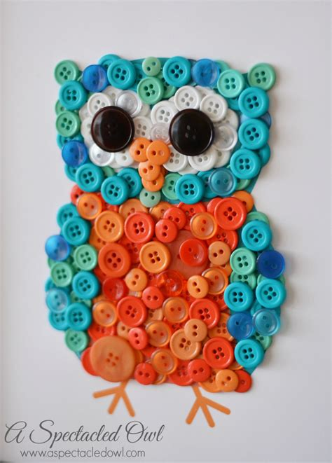 button crafts for diy owl button craft a spectacled owl