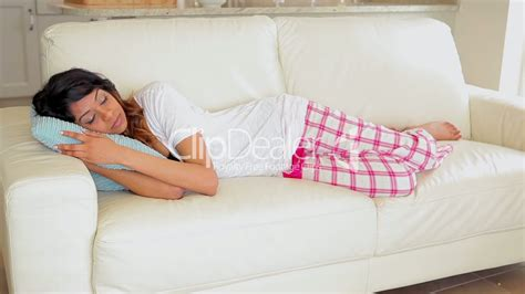 napping couch woman lying on the couch sleeping royalty free video and