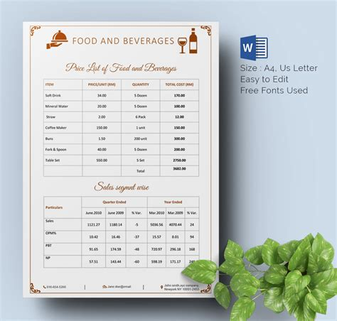 price list template word photography price list template word lovely