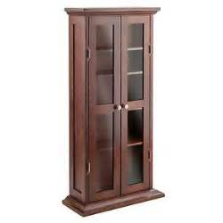 antique walnut wooden cd dvd storage cabinet 5 adjustable